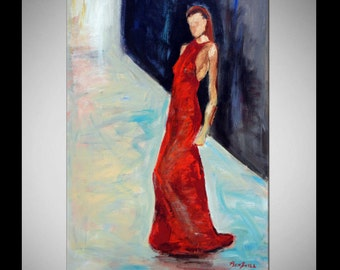 ORIGINAL Fashion Painting RED Dress - Woman Runway Dress Portrait Oil Painting - VOGUE - 30x20 BenWill