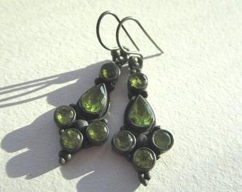 25% SALE Peridot Gemstone Earrings.  Green Peridot Earrings, Peridot Dangle Earrings. Bezel Set Earrings in Oxidized Silver.