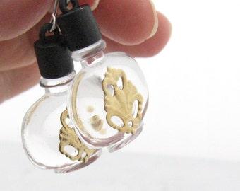 Perfume Bottle Earrings, 1.5 In, Clear Acrylic Black Bottle, Gold Fleur de Lis Filigree, Vintage Charms, Trendy Earrings, Kitsch Earrings