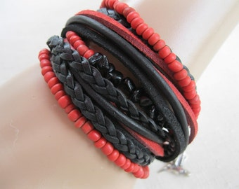 Boho Leather Bead Onyx Wrap Bracelet and Necklace, Multi Strands of Leather and beads in shades of soft black and red