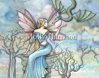 Fairy Dragon Art Print by Molly Harrison - Land Beyond- Beautiful Fantasy Watercolor Art Print 12 x 18 - Fairies faeries fae