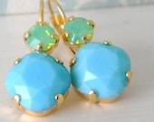 Swarovski Aqua Blue Green Opal Cushion Cut Gold Leverback Earrings