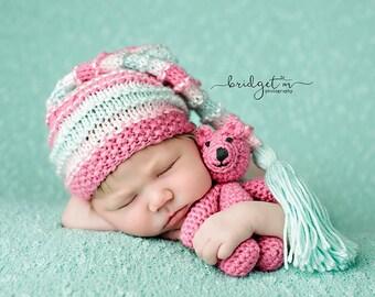 Bubble Mint - Newborn Bumpy Tassel Cap