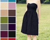 Custom Strapless, Linen blend Dress with Pockets  - COLOR OPTIONS