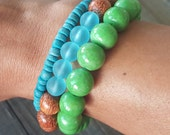 Turquoise Heishi Coco Bead Bracelet, Stretch Stackable Bracelet