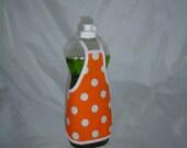 Orange  Polka Dots Decor Dish Soap Apron Bottle Cover Wrap Staffer Party Favor Lg