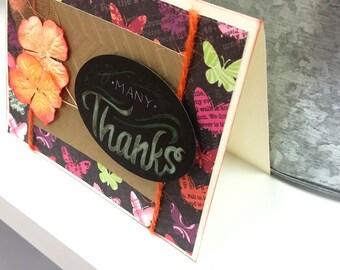 Many Thanks Card Handmade / Paper Flowers / Butterflies / Orange Gold Chalkboard Message