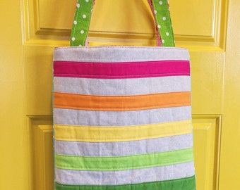 linen and rainbow tote