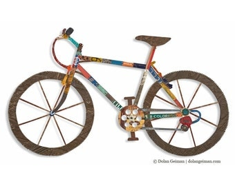 Mountain Bike Art - Mixed Media Wall Sculpture