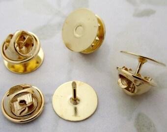 12 pcs. gold tone 12.5mm tack lapel pin blanks w military clutches - f4915