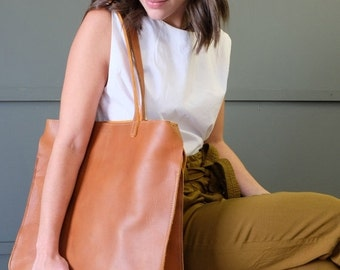 Large Leather Tote, Tan Natural Leather Caryall, Structured: The BEHEMOTH TOTE in TAN Leather by Awl Snap