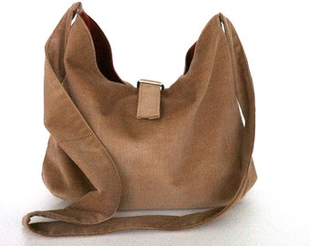 Reversible hobo bag Hobo purse Corduroy shoulder bag Slouch crossbody bag Double sided tote bag Reversible bag  Crossover bag Khaki hobo bag