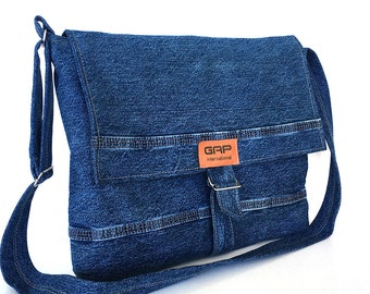 Recycled jean messenger bag, Large denim crossbody bag,Men messenger bag,Women messenger bag,Denim shoulder bag, Laptop bag, jean school bag