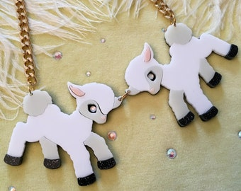Lambs Laser Cut Acrylic Necklace