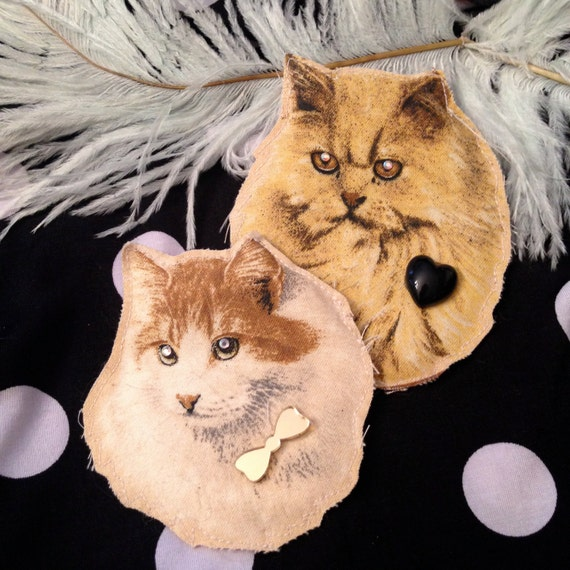 Fluffy Persian Kitty Portrait Badge Set