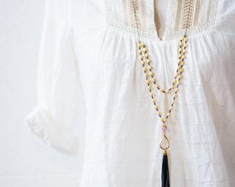 Multi Strand Cream Bead and Leather Tassel Necklace, Leather Tassel Necklace