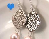 Mandala Peach Pearl Etched dangle Earrings AS