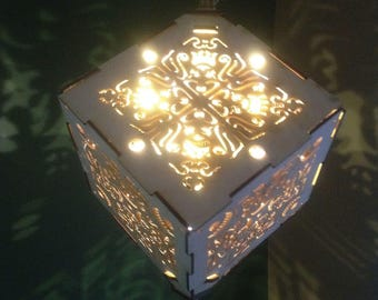 Flower Crown Pendant LED wooden lantern