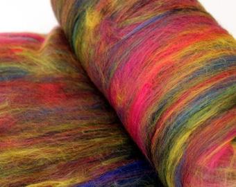 Carded Batt Merino Fiber Fireworks Fine Merino Wool Hand Spinning and Felting Fibre 100g