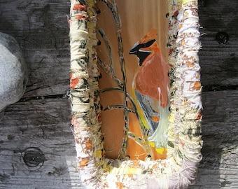 CEDAR WAXWING   hand painted bird Basket tray  A Series of Birds