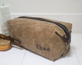 Gift for Men, Men's Dopp Kit, Toiletry Bag, Travel Bag with Inside Pocket - Water Resistant Lining, Waxed Canvas - Tan - Handmade