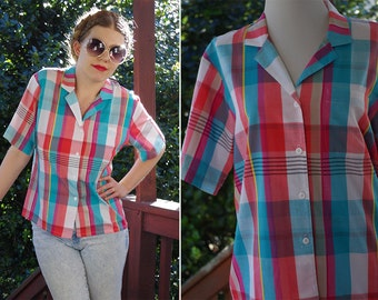 Pink + BLUE 1980's Vintage Bright Colorful Plaid Button Down Shirt with Short Sleeves // size Medium // by KORET