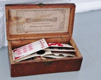 Wood Box and Buttons // Antique Higgins Toilet Soap Wood Box with Vintage  Buttons on cards