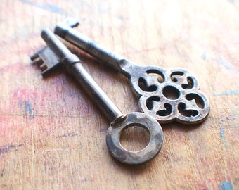 Ornate Antique Skeleton Key Duo - Secret Garden // Fall Sale 20% OFF - Coupon Code FALL20