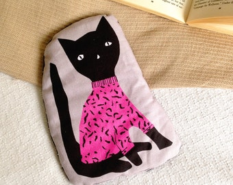 Cat Hottie. Heat pack with black cat illustration an alternative Hot Water bottle. Cool pack and heating pad