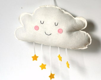 Cloud Wall Hanging -  Nursery Decor - Kids Room Decoration Baby Mobile Plush Cloud with Stars