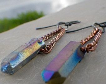 raw titanium quartz earrings, copper, crystal point iridescent aura quartz earrings, sterling silver, festival earrings