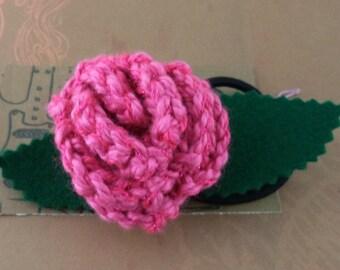 Crocheted Rose Ponytail Holder or Bracelet - Glittery Pink (SWG-HP-ZZ08)