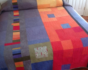 Squares of Color Quilt   Made-to-Order