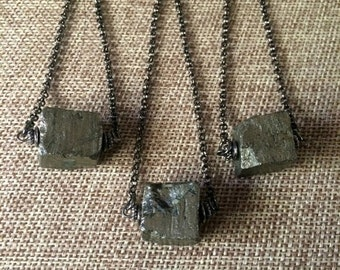 SUMMER SALE Pyrite Cube Necklace / Pyrite Beaded Necklace on Gunmetal Rolo Chain / Mens Pyrite Necklace / Mens Jewelry / Layering Necklace