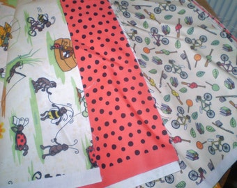 Set of 3 Backyard fun fabrics- new 3 one yard pieces for quilt or Children's project- whimsical bugs and children's prints- ladybug dots