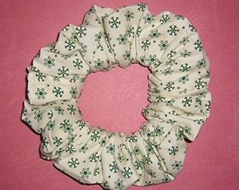 Christmas Hair Scrunchie, Ponytail Holder, Holiday Hair Tie, Green Snowflakes on Off White
