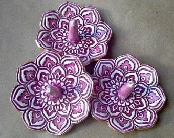 SALE 3 Wine Red Lotus Ceramic Ring Holders