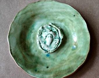 Ceramic Gibson Girl Trinket Bowl edged in gold Moss Green art nouveau