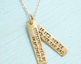 """Artisan quote - JOHN LENNON - """"Everything will be ok in the end,"""" inspirational handmade 14kt gold vermeil necklace by Chocolate and Steel"""