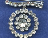 1940s Sterling Rhinestone Brooch Vintage Prong Set Dangling Moving 2494