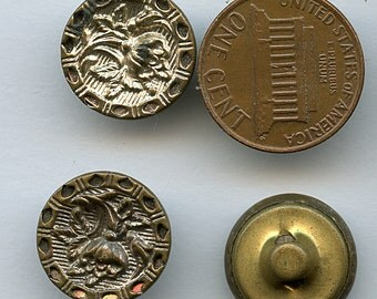 Antique FLORAL FLOWER Set of (3) Victorian Brass Twinkle Border Metal Picture Buttons  5/8 inch size 1664
