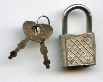Small Mini Padlock and Keys Vintage Lock Silver with 1882