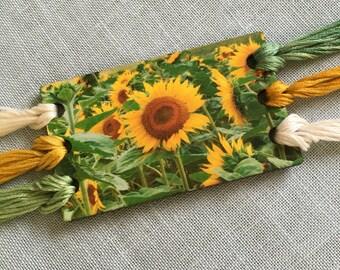 SUNFLOWERS thread keep embroidery floss organizer thread card
