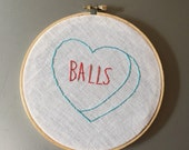 Balls - hand drawn and embroidered converstion hearts hanging