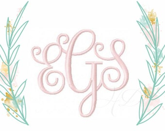 "3/4"" and 1"" inch Vine Interlocking Embroidery Font Scroll Font Kathryn Small Font BX instant download"