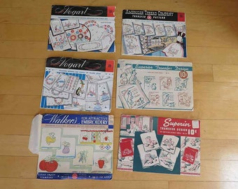 Vintage Set of 6 Day of the Week and Kitchen Towel Transfer Embroidery Patterns