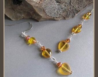 Amber Valentine Heart Earrings by Cornerstoregoddess