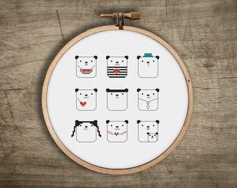 cross stitch pattern pandas  ++ kawaii craft ++ emoji pandas ++ pdf INsTAnT DOwNLoAD ++ diy hipster ++ handmade design