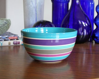 SALE Modern Porcelain Bowl Blue Purple Grey Lavender Stripes