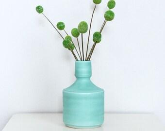 Short Porcelain Vase in Satin Turquoise - Modern Ceramic Turquoise Vase